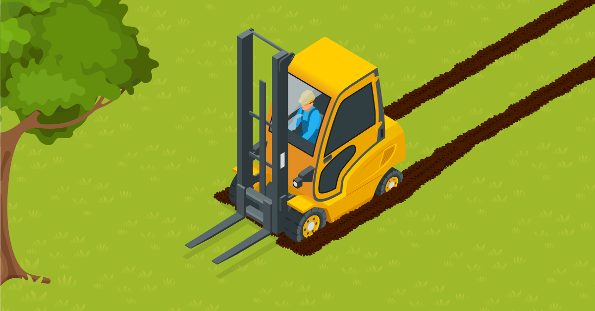can a forklift drive on grass?