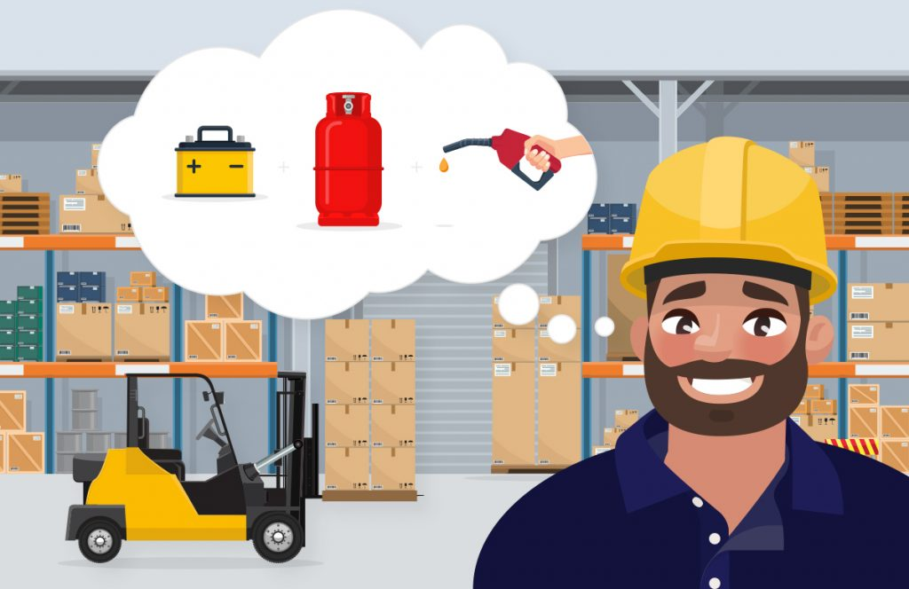 What are the different forklift power types